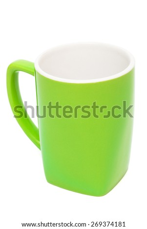 empty green cup on a white background - stock photo