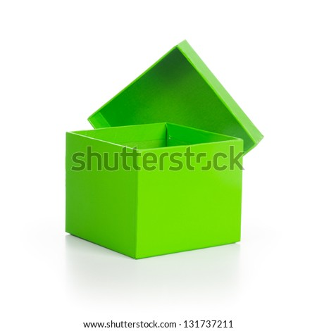 Empty green gift box with lid on white background clipping path included - stock photo