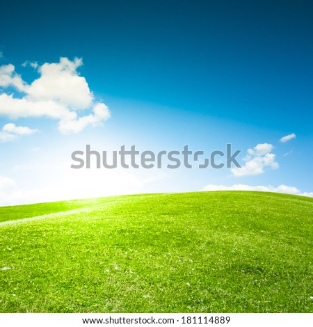 Empty green grass field and blue sky with white clouds. Sunset or sunrise meadow. Spring background. - stock photo