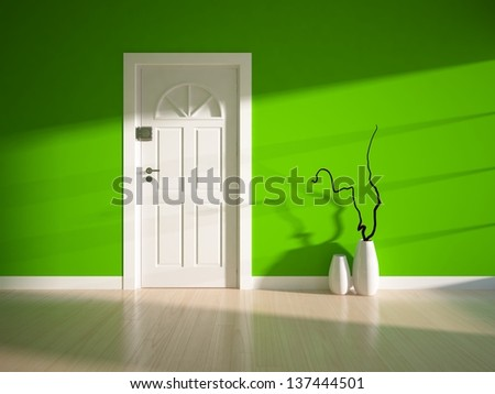 empty green interior with a white door - stock photo