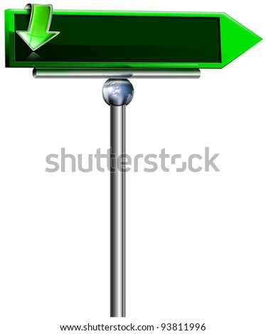 Empty Green Modern Sign / Modern sign with two green arrows, isolated on white background
