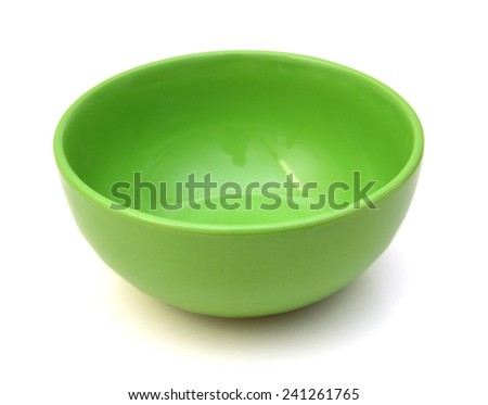 Empty green plastic bowl isolated on white  - stock photo