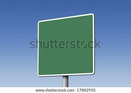 Empty green road sign against blue sky - stock photo