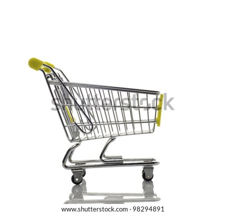 Empty green shopping cart isolated on white background with reflection - stock photo