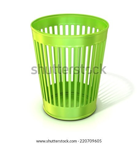 Empty green trash bin, garbage can isolated on white background - stock photo