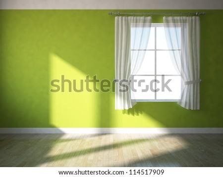 empty green wall - stock photo