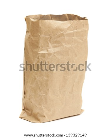 empty grocery bag isolated on a white background