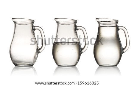 empty,half and full with water jug. Isolated on white - stock photo