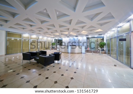 Empty hall at business center Academicheskiy in Moscow - stock photo