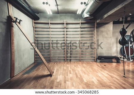 Empty hall for boxing in the gym - stock photo
