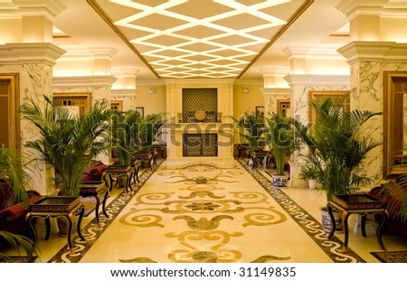 empty hall in hotel with marble floor - stock photo