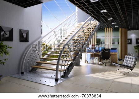 Empty hall in office building - stock photo