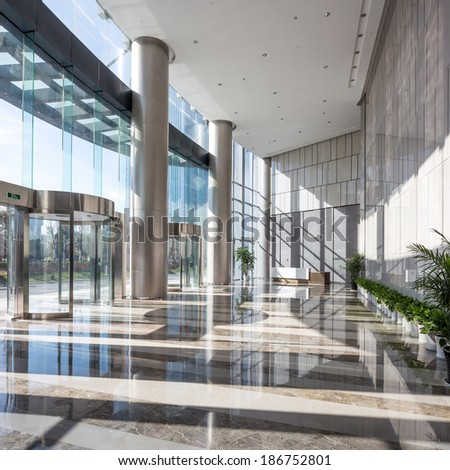 empty hall in the modern office building - stock photo