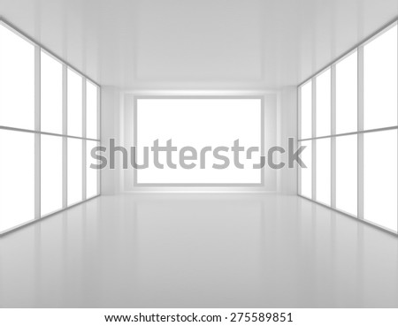 Empty hall with a clean white screen on the wall. - stock photo