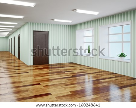 Empty hall with green wallpaper - stock photo