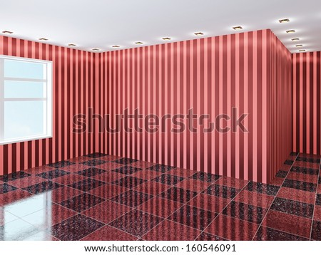 Empty hall with red wallpaper - stock photo