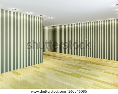 Empty hall with striped wallpaper - stock photo