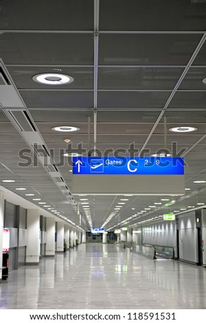 Empty hallway inside airport - stock photo