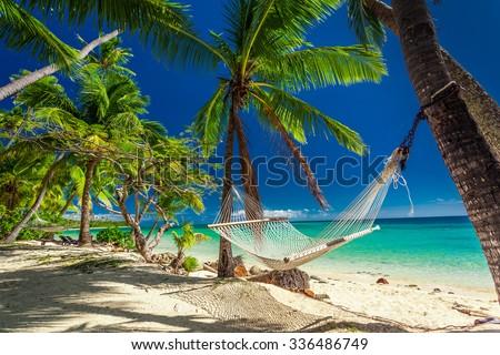 Empty hammock in the shade of palm trees on tropical Fiji Islands - stock photo