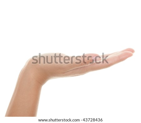 Empty hand palm showing your product. Brightly lit with backlight. Female hand isolated on white background. - stock photo