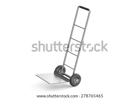 empty hand truck isolated on white background - stock photo