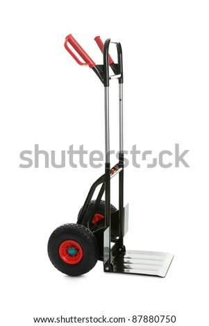 Empty hand truck isolated over white background - stock photo