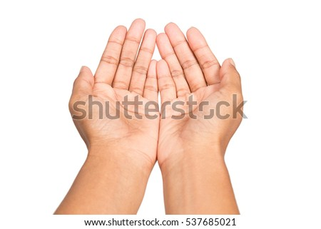 Empty hand woman asking for something isolated on white background