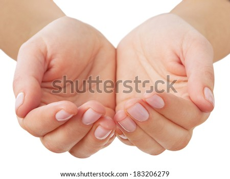 Empty  hands  isolated on white background. Focus on nails - stock photo