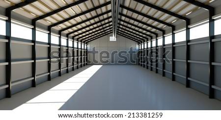 Empty hangar for storage of equipment, 3d render - stock photo