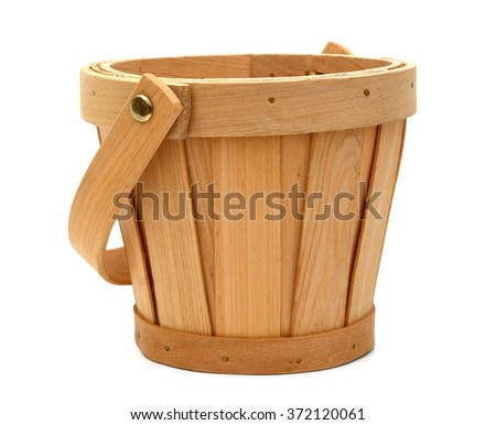 Empty harvesting basket isolated on white - stock photo