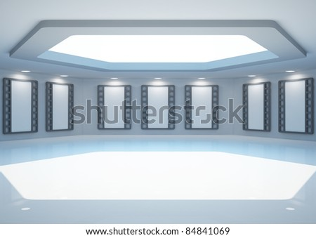 empty hexagonal room with blank frames, interior with cinema posters - 3d illustration - stock photo
