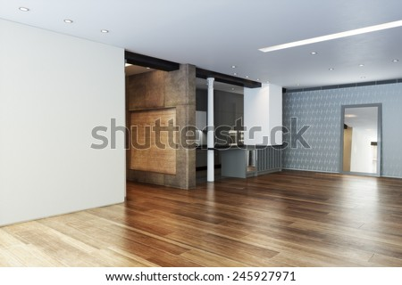 Empty Highrise apartment with column accent interior and hardwood floors.Photo realistic 3d rendered illustration - stock photo