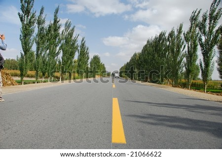 Empty highway,country road(3) - stock photo