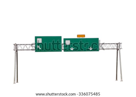 Empty highway sign isolated on white background ,with clipping path - stock photo
