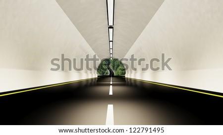 Empty highway tunnel - stock photo