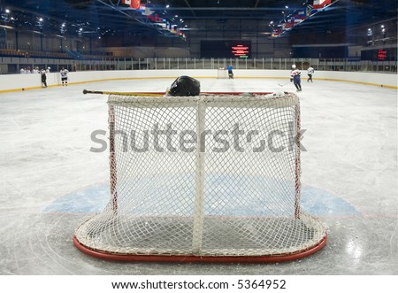 empty hockey gate on the Ice - stock photo