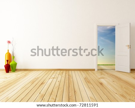 empty home entrance with open door -rendering-the image on background is a my rendering composition - stock photo