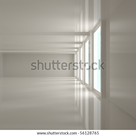 Empty Home Interior - 3d illustration - stock photo