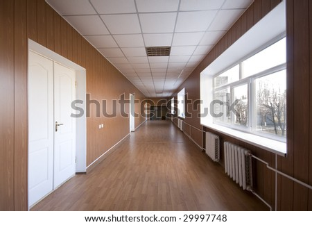 Empty hospital corridor - stock photo