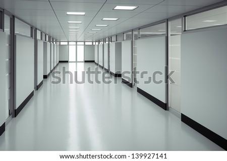 Empty hospital floor - High quality render - stock photo