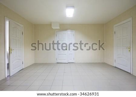 Empty hospital hall with closed  doors - stock photo