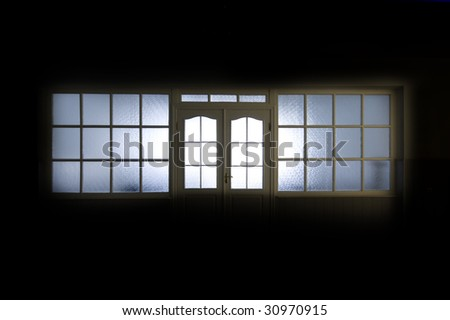 Empty hospital hall with internal window - stock photo