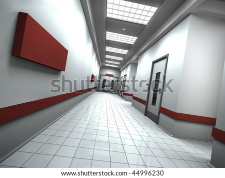 Empty hospital/office corridor with empty sign on the wall. 3D rendered image. - stock photo