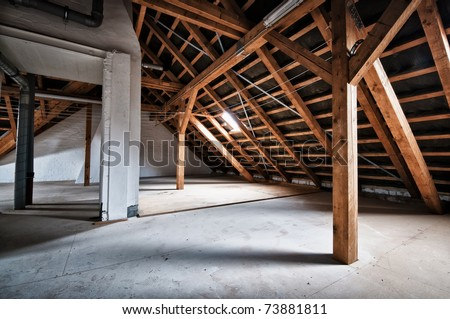 Empty house attic - stock photo