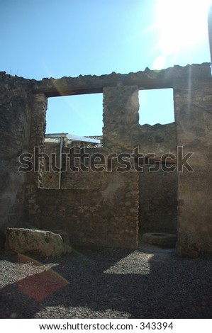 empty house in Pompeii, Italy. Town destroyed by volcano 2000 years ago. - stock photo