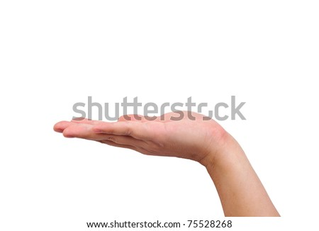 Empty human hand held up isolated on white