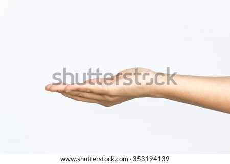 empty human hand holding on isolated white background - stock photo