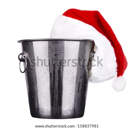 empty ice bucket with christmas decor isolated