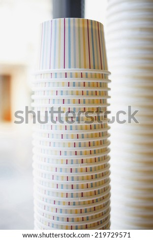 Empty ice cream cup.Carton cup for ice cream/Ice cream cup/Packaging for ice cream - stock photo