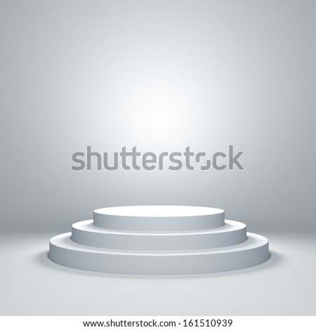 Empty illuminated podium - stock photo